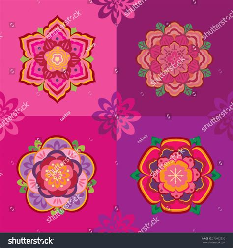 new year flower pattern new year flower pattern collection stock vector