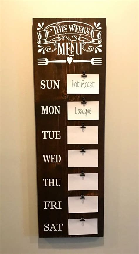 rustic kitchen menu menu board meal planning sign weekly meal planning