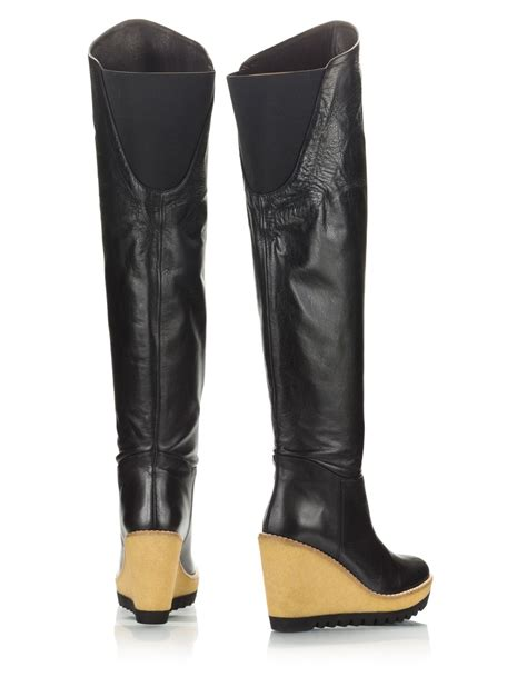 black leather knee high boots wedge heel palomitas black nappa leather high wedge heel the