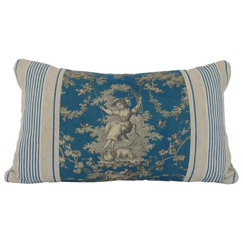 19th century toile de jouy and ticking pillow for