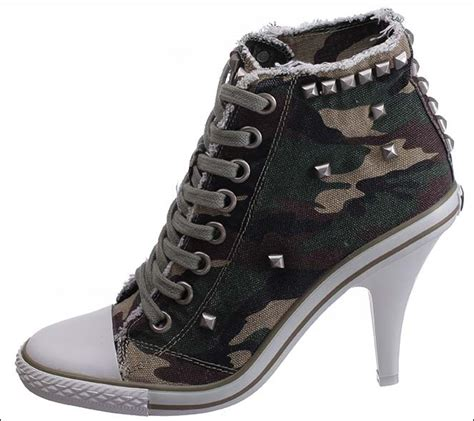 2015 canvas camouflage high heels shoes high top
