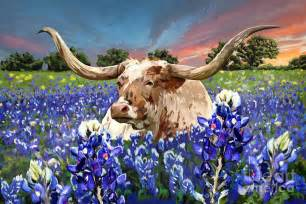Texas Longhorns Shower Curtain - longhorn in bluebonnets painting by tim gilliland