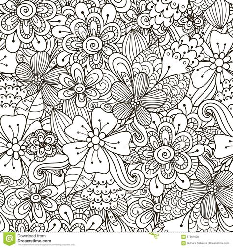 doodle pattern black and white floral doodle black and white seamless pattern stock
