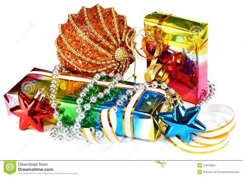 gifts with decorations for new year and christmas stock