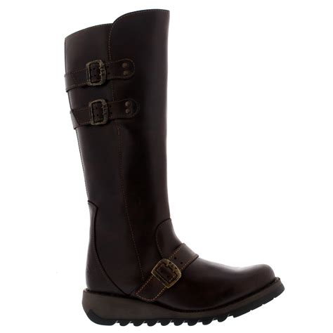 wedge snow boots womens fly solv leather wedge winter knee