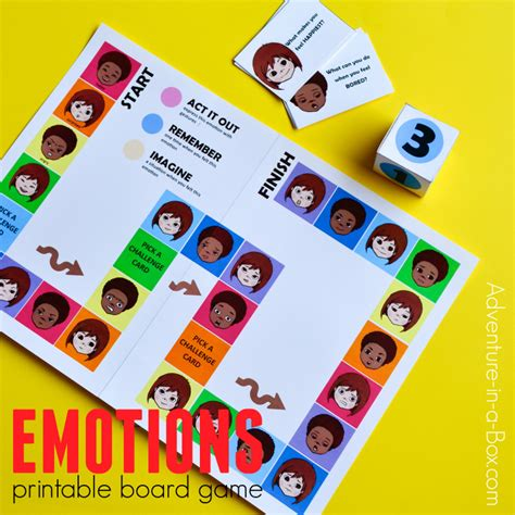 printable adventure board games printable board game for kids to learn about emotions