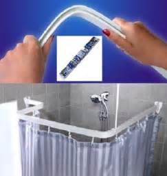 Tab Back Curtains Shower Bath Curtain Rail Pole Bendi Flexible Track White U