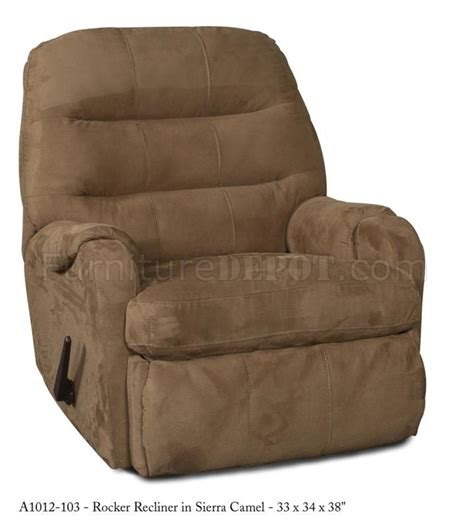 modern rocker recliners camel fabric elegant modern handle rocker recliner