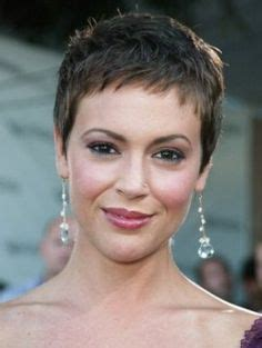 alyssa milano hairline style with very short spiky highlighted hair beautiful