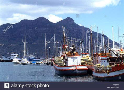 hout bay boat yard hout bay boat port harbour cape south africa sea stock