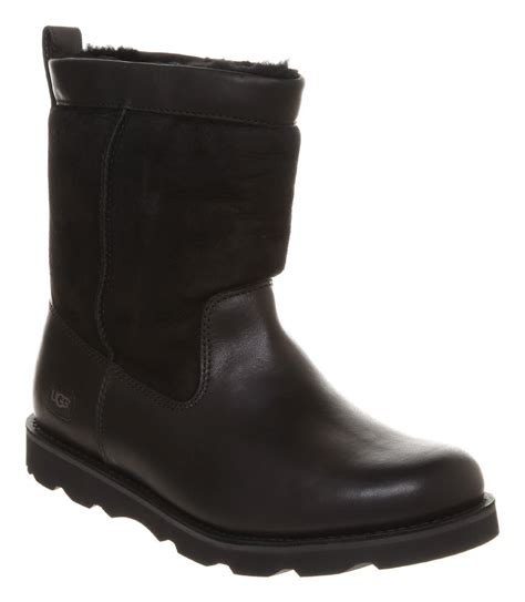 black leather ugg boots ugg wrangell boot black leather in black for lyst