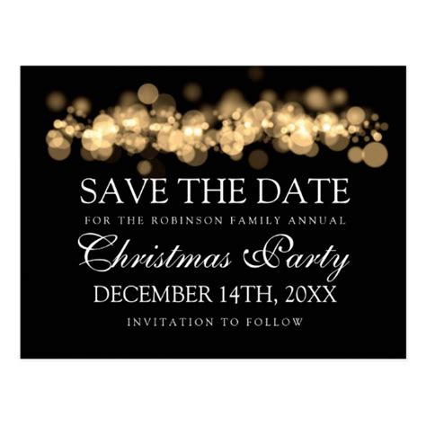 christmas party save the date gold bokeh lights postcard