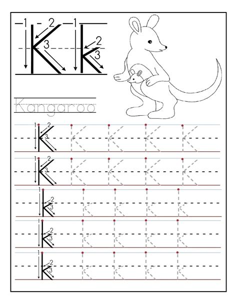 worksheets for preschoolers tracing letters printable letter k tracing worksheets for kindergarten