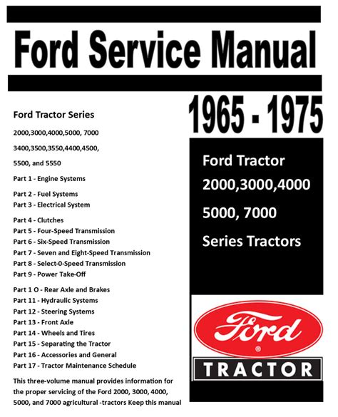 Ford 2000 3000 4000 5000 7000 3400 5550 Tractor Service