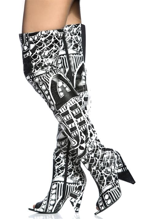black and white thigh high boots yu boots