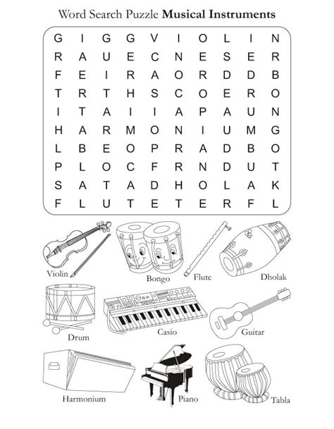 printable music word games color in pages word search puzzle musical instruments