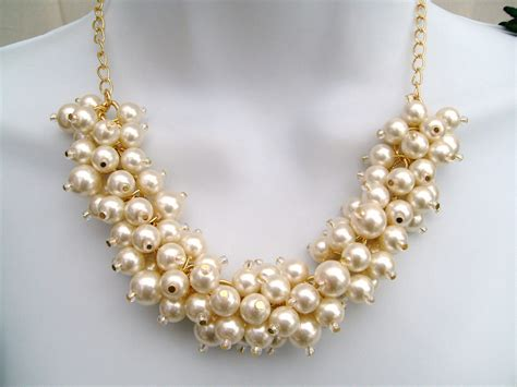 chunky beaded necklaces ivory pearl necklace beaded necklace wedding jewelry chunky