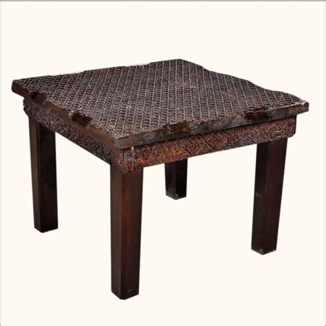 rustic wood accent tables rustic hand carved wood mahogany accent end table