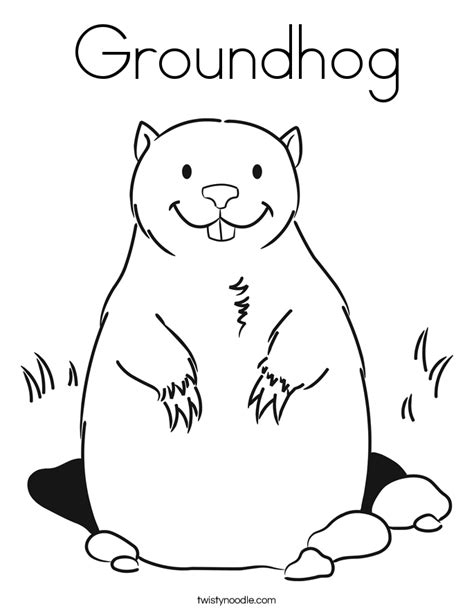 groundhog coloring page twisty noodle