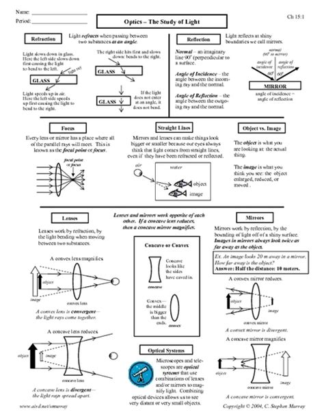 Optics The Study Of Light Worksheet For 9th 12th Grade