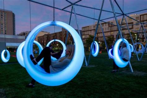swing time sports center glowing led hammocks for adults to play in boston psfk