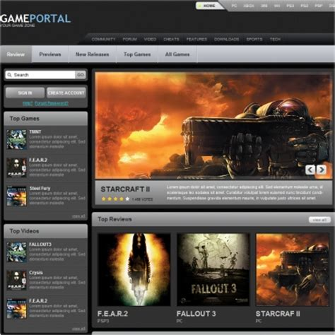 game portal template free website templates in css html