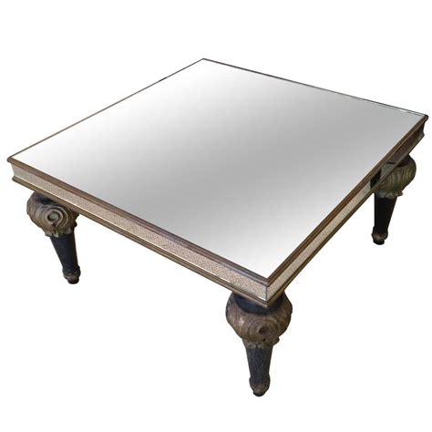 Coffee Table Turned Legs Mid Century Mirrored Coffee Table With Decorative Wooden Turned Legs At 1stdibs