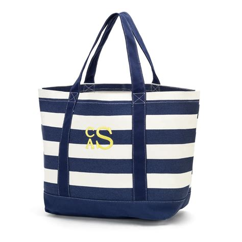 monogrammed navy stripe canvas tote bag gifts