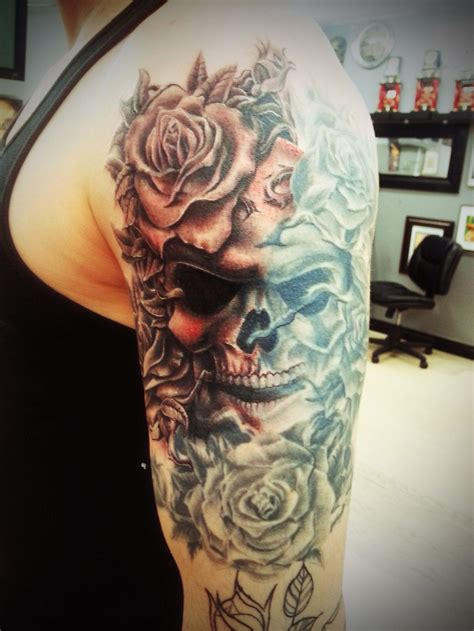 roses skulls tattoos skull with roses on arm by thepipper27 tattoos