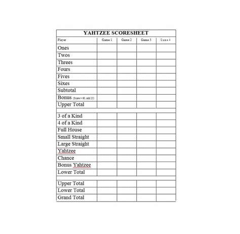 yahtzee score sheets template 28 printable yahtzee score sheets cards 101 free