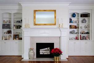 fireplace with bookshelves colonial white bookcases with mantle custom cabinetry by