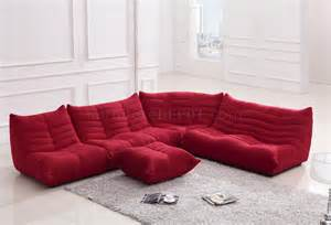 Ultra Leather Upholstery Fabric Red Fabric Modern Sectional Sofa W Ottoman