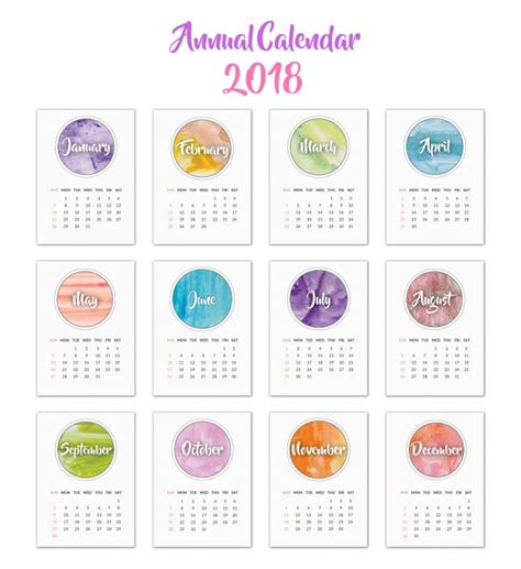 Vector Calendar 2018 Calendar 2018 Watercolor Design Vector Free