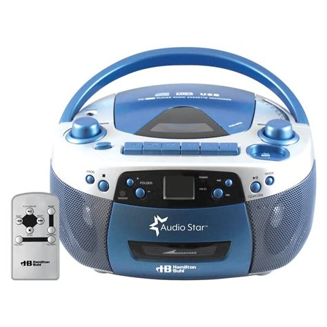 cd cassette player hamiltonbuhl audiostar boombox radio cd usb cassette