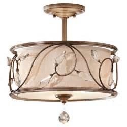 semi flush ceiling light drum shade three light arctic silver chagne hardback w fabric