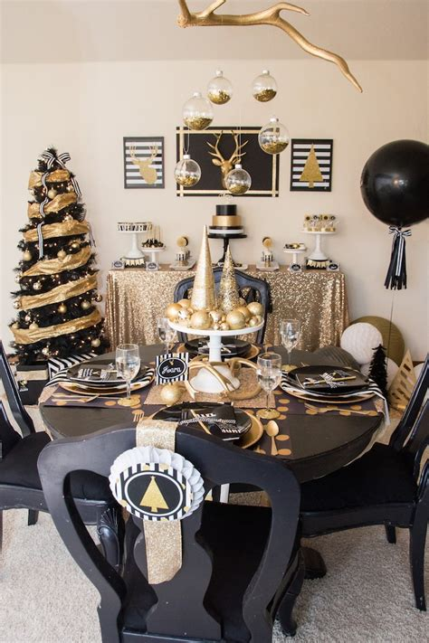 black and white christmas table decorations kara s ideas modern black gold