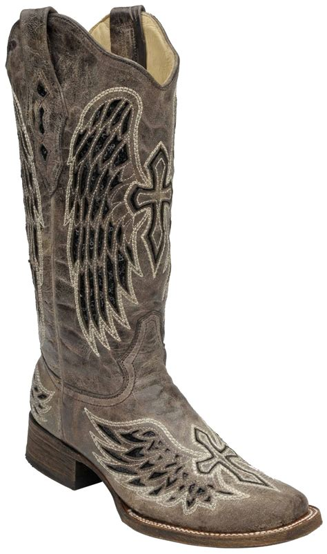 Womens Handmade Boots - corral s handmade boots brown with black inlay cross