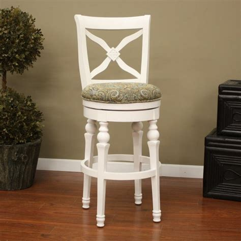 livingston collection antique white bar stool  blue