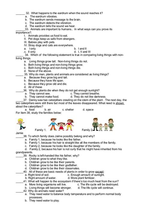 Test Your 2006 Knowledge by Science Test For 2nd Graders Science Test For 1st