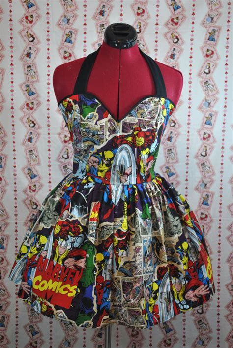 Hq 13774 Stripe Hoody Dress Breakthrough Marvel Comics Halter By Cakeshopcouture