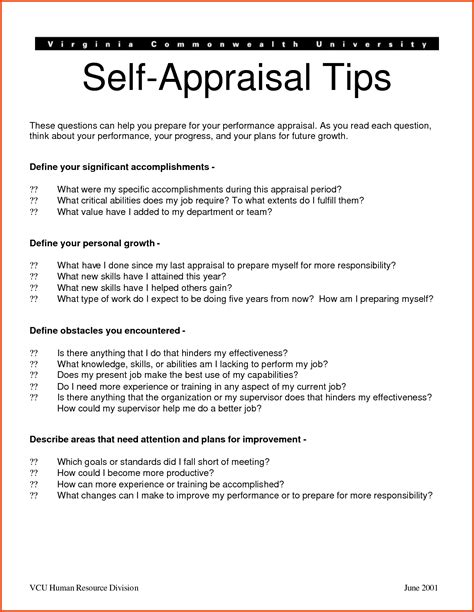 self appraisal report sle self performance review sle release photos appraisal
