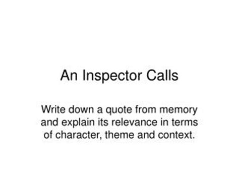 themes in an inspector calls ppt ppt an inspector calls powerpoint presentation id 5359045