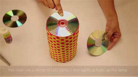 Diy Recycled Home Decor by Recycled Lamp With Old Cds Youtube