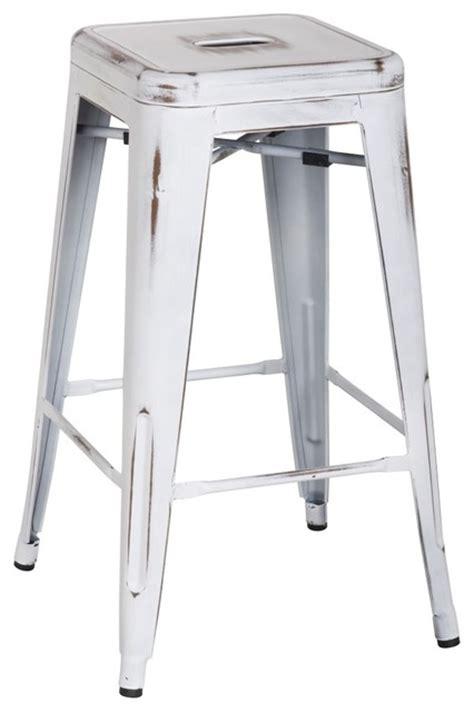 distressed white counter stools metropolis metal backless counter stool distressed white