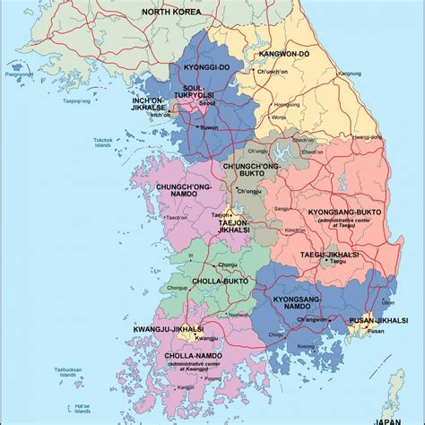 south map south korea political map illustrator eps city country
