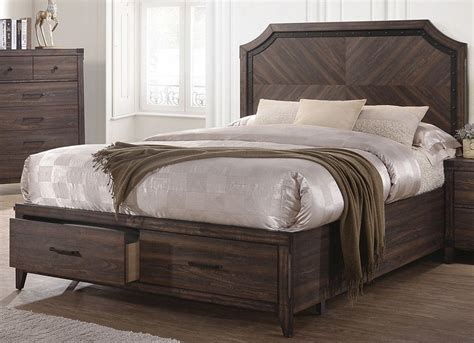 richmond bedding richmond dark gray oak king storage panel bed from coaster