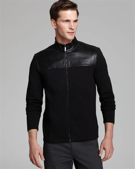Jaket Cotton 1 michael kors leather yoke cotton jacket in black for lyst