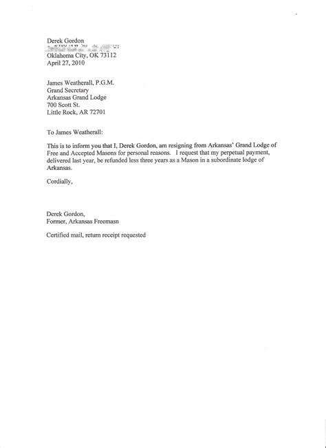Resignation Letter Simple by I Resign Freemason Information