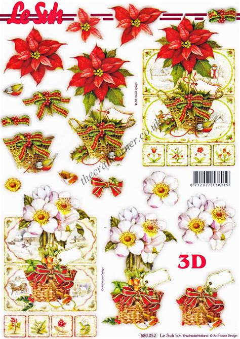 Die Cut Decoupage Sheets - poinsettia flowers die cut 3d decoupage sheet