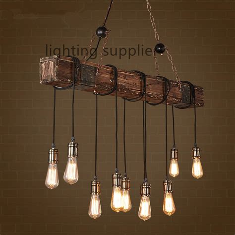 Loft Style Creative Wooden Droplight Edison Vintage Lantern Light Fixtures For Dining Room